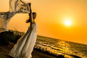 角島でドレスを着てポートレート撮影した結果。